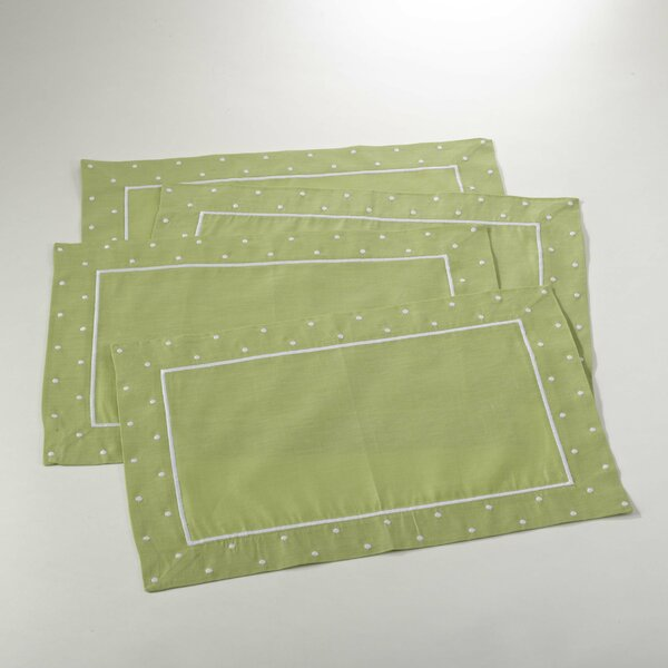 Hampton Bay Embroidered with Dotted Border Placemat (Set of 4) by Saro