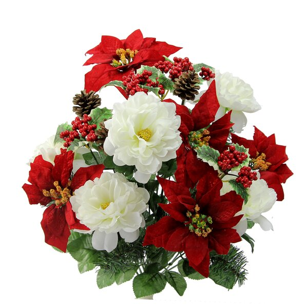 18 Stems Peony  Red Velvet Poinsettia Mixed Floral Arrangement. Artificial Flower Arrangements You ll Love   Wayfair