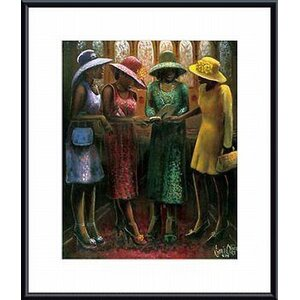 'Sunday Conversation' by Lonnie Ollivierre Framed Painting Print by Printfinders