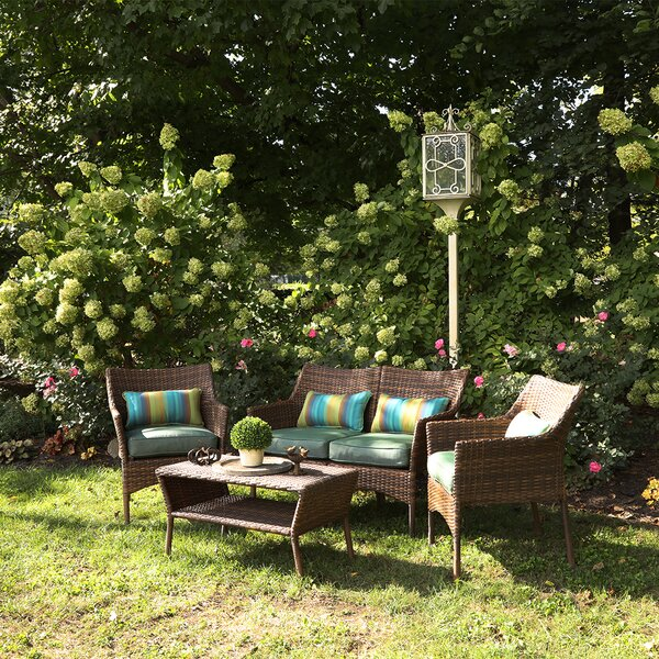 Olivia 5 Piece Rattan Sofa Seating Group with Cushions by Bayou Breeze