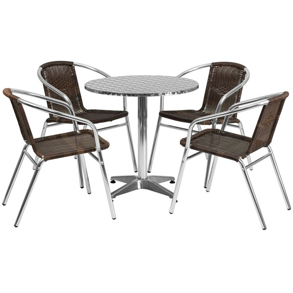 Koa Round Indoor Outdoor 5 Piece Bar Height Dining Set by Ebern Designs