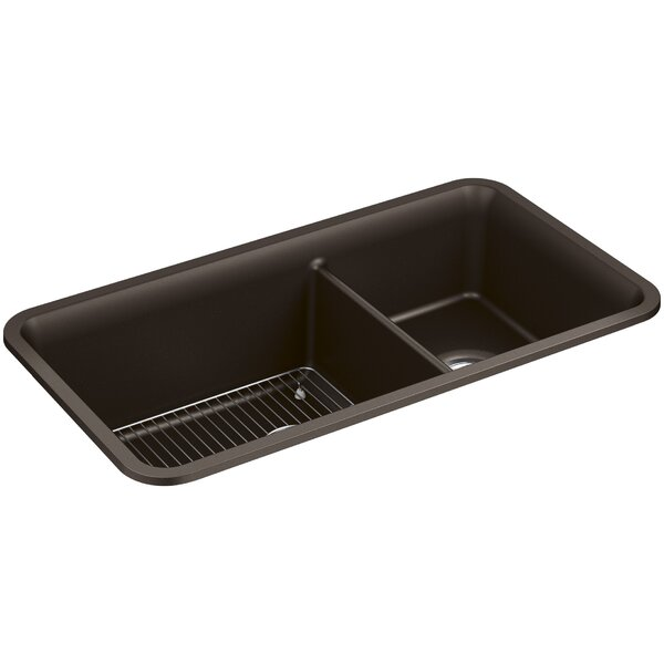 Cairn™ 33-1/2 x 18-5/16 x 9-1/2 Neoroc™ Under-Mount Large/Medium Double-Bowl Kitchen Sink with Basin Rack by Kohler