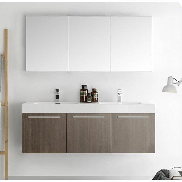Senza 60 Vista Double Wall Mounted Modern Bathroom Vanity Set with Mirror by Fresca