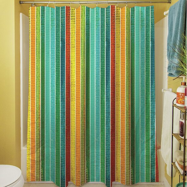 Aqua Bloom Stripes Shower Curtain by Manual Woodworkers & Weavers