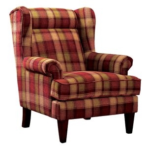finley plaid print wingback chair