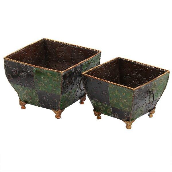 2-Piece Metal Pot Planter Set by ESSENTIAL DÉCOR & BEYOND, INC