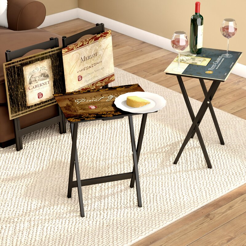 Armetta Rustic Wine Labels Tv Tray With Stand