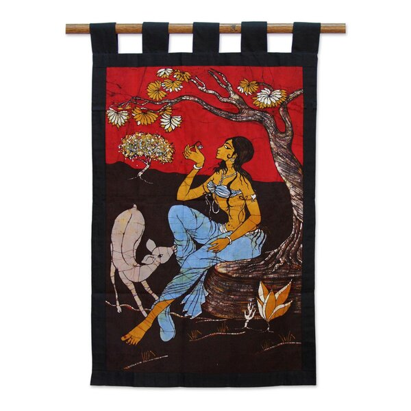 Girl in the Garden Batik Cotton Tapestry and Wall Hanging by World Menagerie