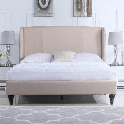 Kassandra Linen Upholstered Platform Bed with Shelter Headboard Ophelia & Co. Size: Full, Color: Ivory