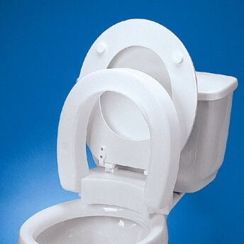 Elongated Hinged Raised Toilet Seat by Maddak