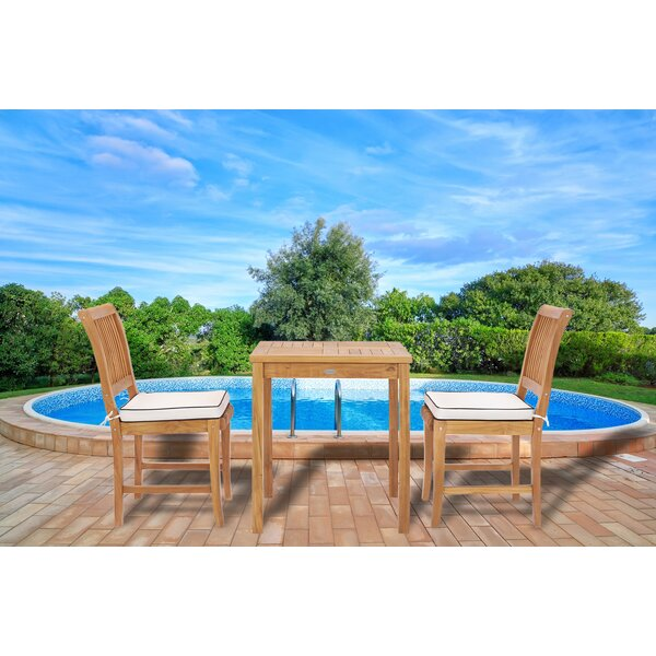 Dayne 3 Piece Teak Bistro Dining Set with Sunbrella Cushions by Bay Isle Home