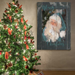 'A Teal Santa' Photographic Print on Wrapped Canvas by The Holiday Aisle