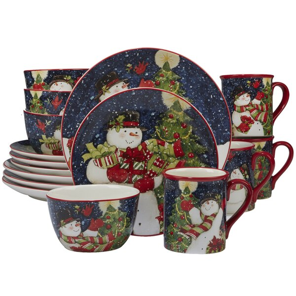 Delilah Snowman 16 Piece Dinnerware Set, Service for 4 by The Holiday Aisle