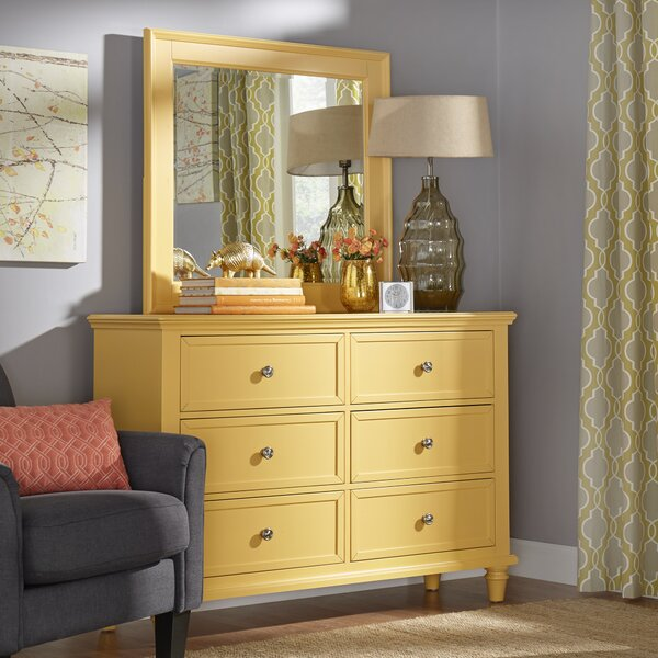 Rae 6 Drawer Double Dresser with Mirror by Three Posts