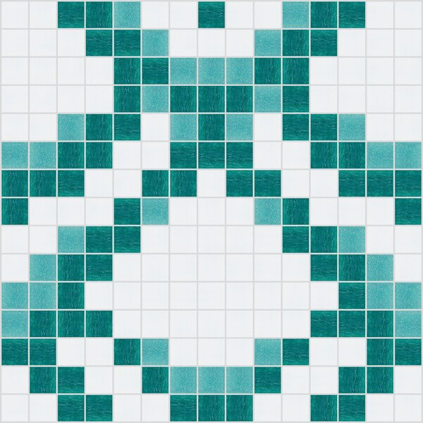 Urban Essentials Subtle Scales 3/4 x 3/4 Glass Glossy Mosaic in Deep Teal by Mosaic Loft