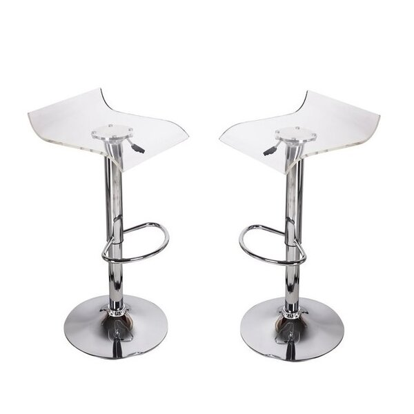 Dall Clear Adjustable Height Bar Stool (Set of 2) by Orren Ellis