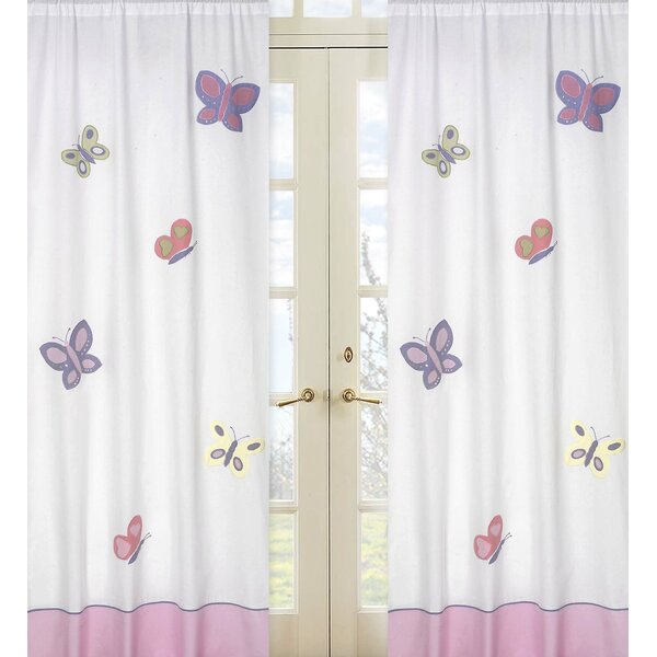 Butterfly Wildlife Semi-Sheer Rod Pocket Curtain Panels (Set of 2) by Sweet Jojo Designs