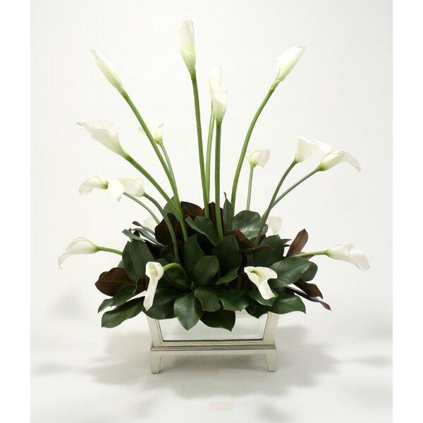Silk Calla Lilies and Magnolia Leaves in Mirrored Box by Distinctive Designs