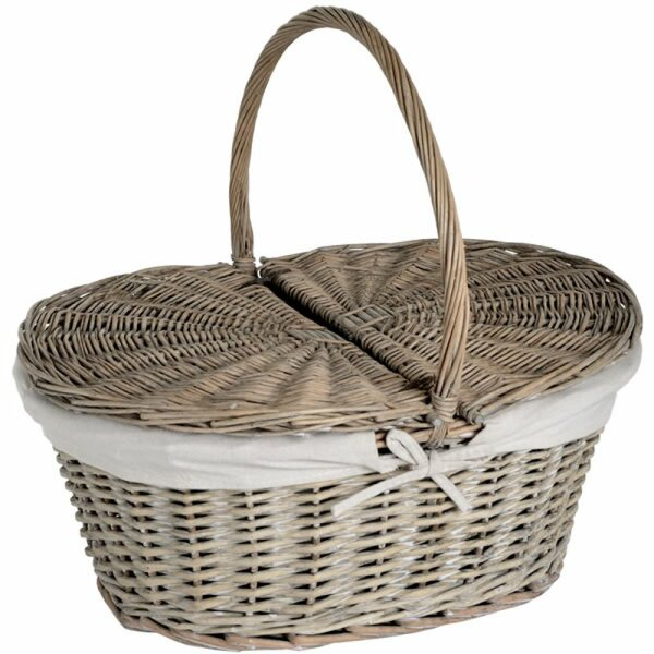 Oval Willow Picnic Basket with Lid by Quickway Imports