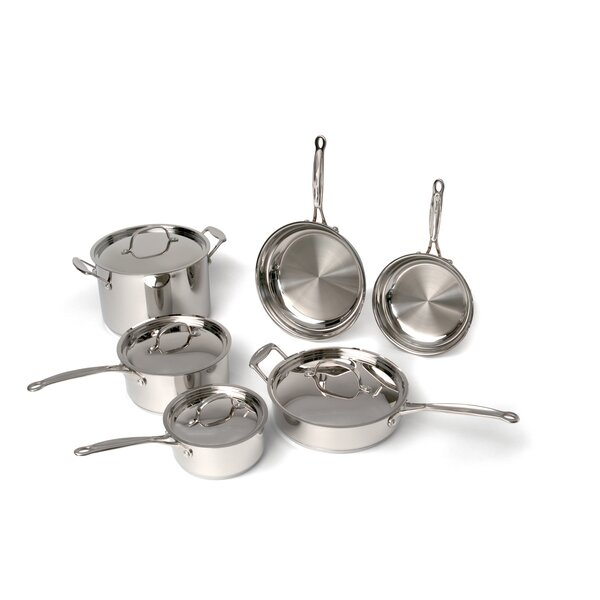 Premium Copper Clad Stainless Steel 10 Piece Cookware Set by BergHOFF International