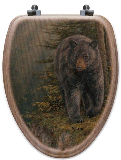 Rocky Outcropping Bear Oak Elongated Toilet Seat