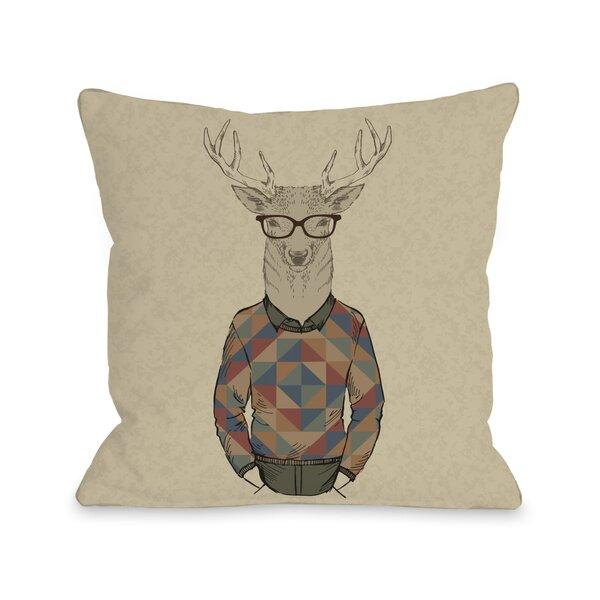 Hipster Deer Sweater Throw Pillow by One Bella Casa