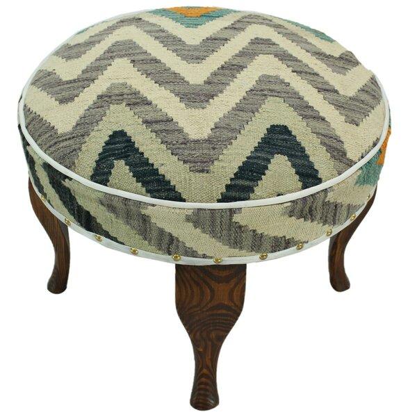 Stivers Kilim Upholstered Handmade Ottoman by Bloomsbury Market