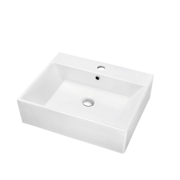 Ceramic Rectangular Vessel Bathroom Sink with Overflow by Dawn USA
