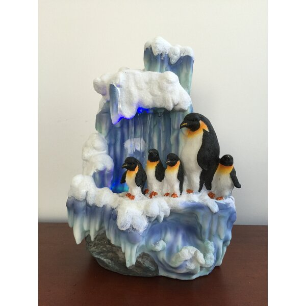 Artistic Sculptural Penguin Family on Iceberg Tabletop Water Fountain by Sintechno
