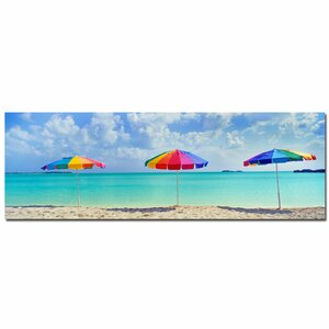 Three Umbrellas by Preston Framed Photographic Print on Wrapped Canvas by Trademark Fine Art