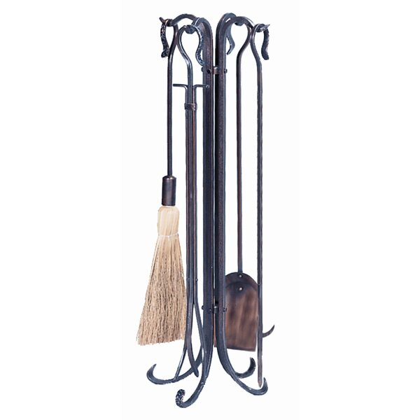 4 Piece Copper Hammered Crook Fire Tool Set With Stand by Uniflame Corporation