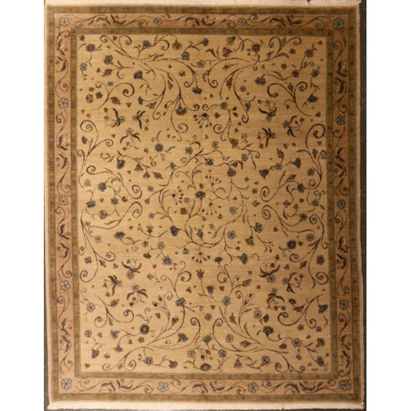 Edinburgh One-of-a-Kind Arminian Floral Hand-Knotted Wool Beige Area Rug by Canora Grey