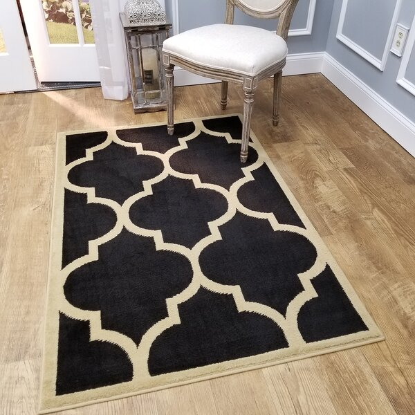 Kinner Moroccan Trellis Black Area Rug by Charlton Home