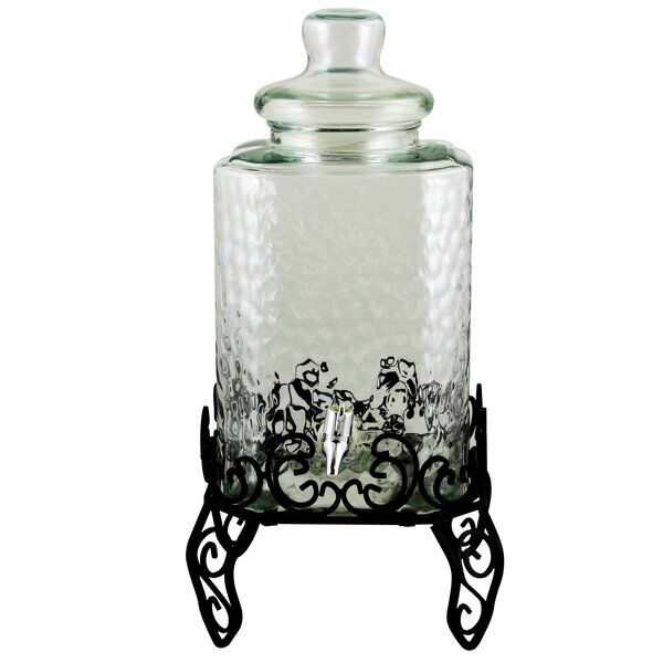 Dumas Square Embossed Glass 288 oz. Beverage Dispenser with Wire Stand by Red Barrel Studio