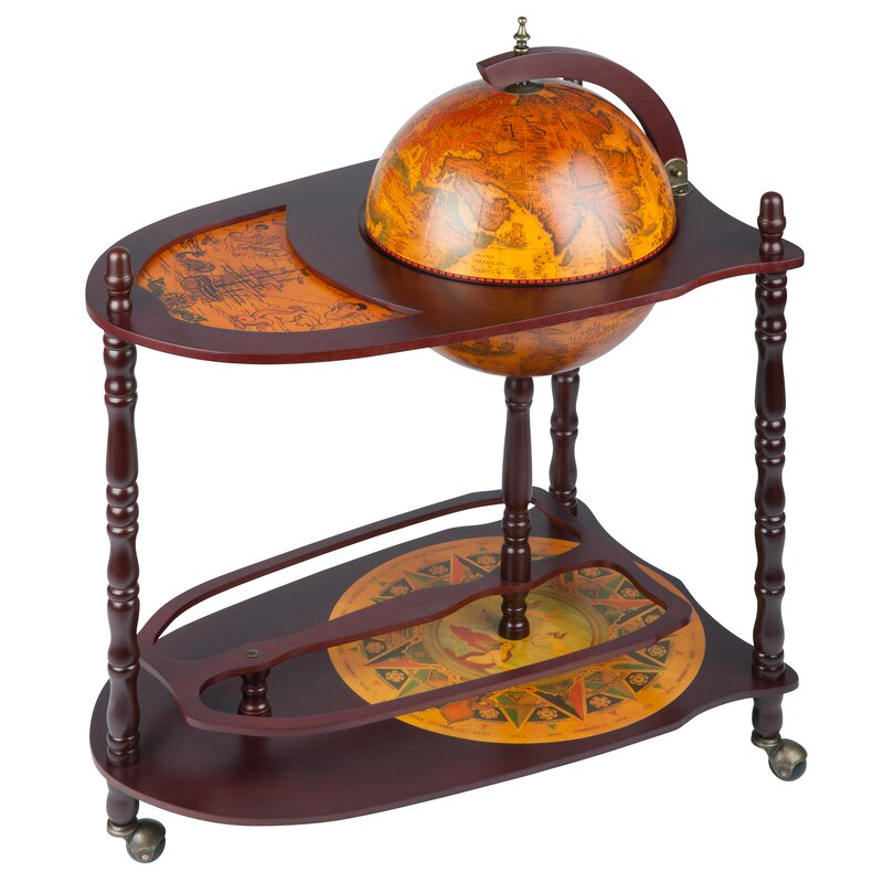 Old World Extended Shelf Italian Replica Globe Bar Cart