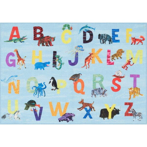 Alphabet Zoo Educational Blue Area Rug by Eric Carle