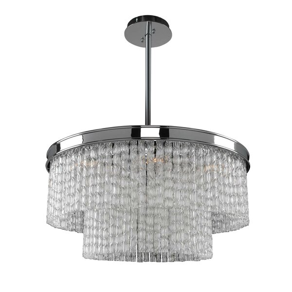 Glencoe 8 - Light Unique / Statement Drum Chandelier with Crytal Accents by Everly Quinn Everly Quinn