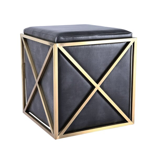 Seely Elegant Leather Vanity Stool by Everly Quinn