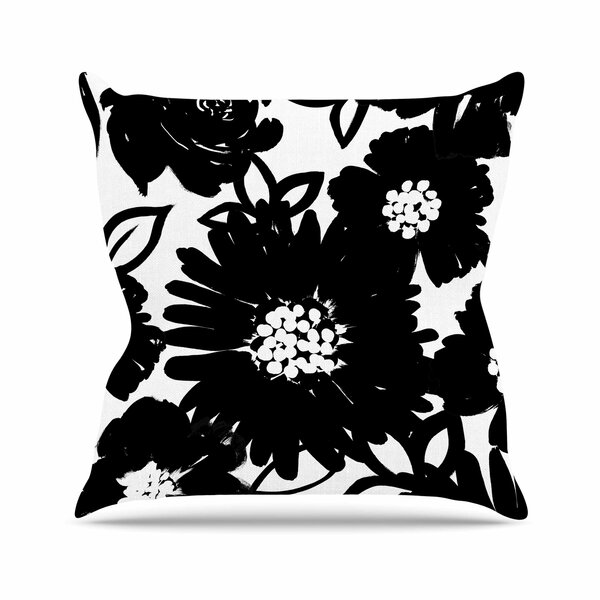 Emine Ortega Monochromatic Blooms Outdoor Throw Pillow by East Urban Home