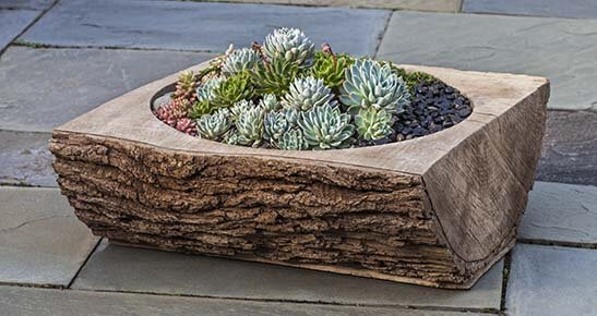 Split Log Cast Stone Planter Box by Campania International