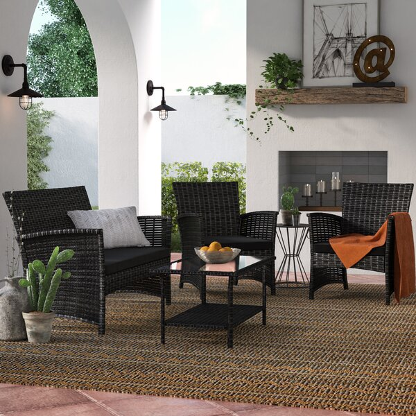 Faribault 4 Piece Rattan Sofa Seating Group with Cushions by Wrought Studio