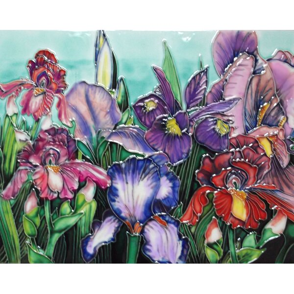Irises Tile Wall Decor by Continental Art Center