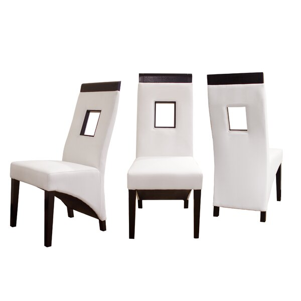 Bernathy Leather Upholstered Parsons Chair in White (Set of 2) by Latitude Run Latitude Run