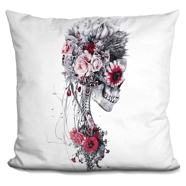 Skeleton Bride Throw Pillow by East Urban Home