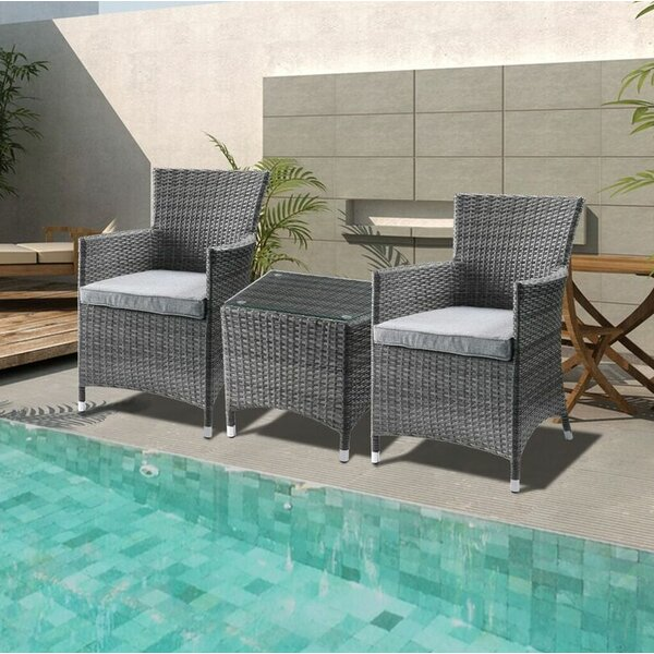 Tashelle 3 Piece Bistro Set with Cushions by Wrought Studio