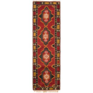 Comparison One-of-a-Kind Glenaire Hand-Knotted Runner 4' x 13'8 Wool Red/Black/Yellow Area Rug By Isabelline