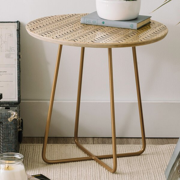Iveta Abolina Mud Cloth Inspo VIII Round End Table by East Urban Home East Urban Home