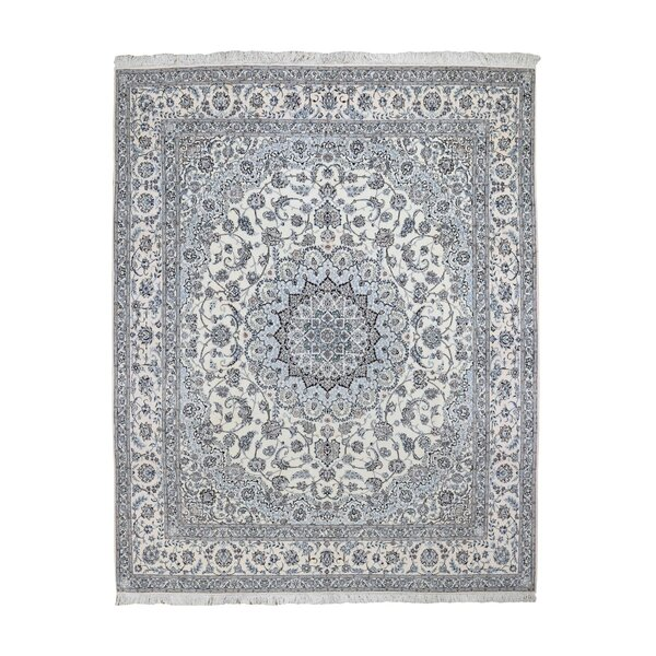 One-of-a-Kind Hand-Knotted Blue/Ivory 8' x 9'7 Area Rug