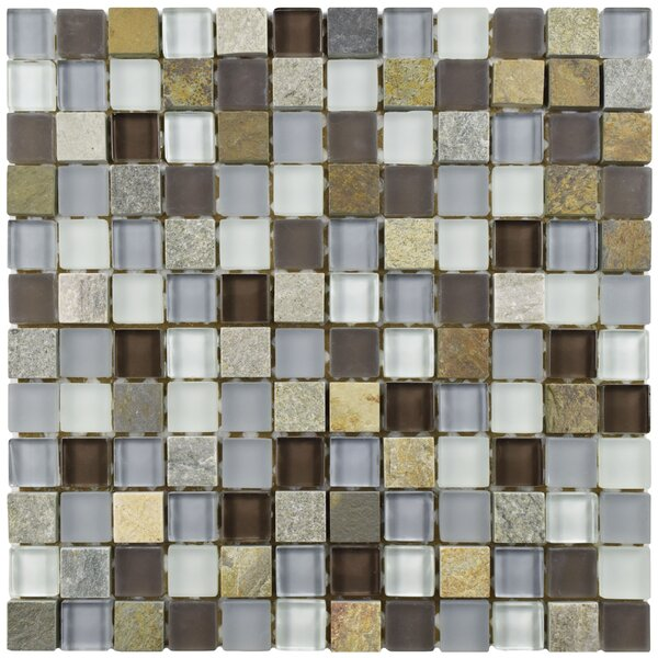 Sierra 0.88 x 0.88 Glass and Natural Stone Mosaic Tile in Brown/Blue by EliteTile