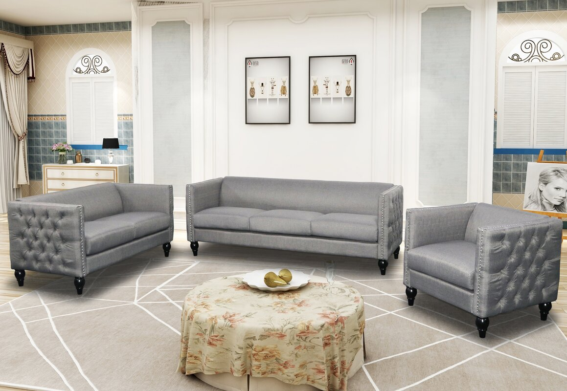 3 Piece Living Room Sofa Set: $525.00 Buchannan 3-Piece Microfiber Living Room Set